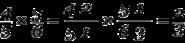 Equation: frac{4}{5} times frac{5}{6} = frac{4(2)}{5(1)} times frac{5(1)}{6(3)} = frac{2}{3}