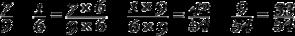 Equation: frac{7}{9} - frac{1}{6} = frac{7 times 6}{9 times 6} - frac{1 times 9}{6 times 9} = frac{42}{54} - frac{9}{54} = frac{33}{54}